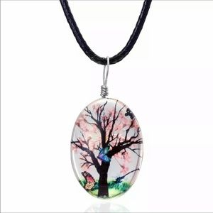 Real Flower Butterfly Resin Cord Necklace …